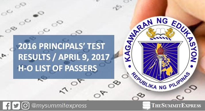 RESULTS: H-O Passers, 2016 Principals' Test