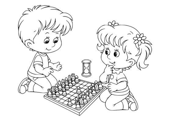 Tranh tô màu hai bạn thiếu nhi chơi cờ vua
