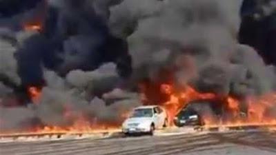 فديو حريق هائل طريق مصر الإسماعيلية