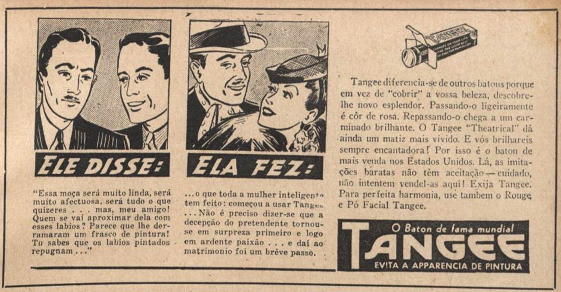 Anúncio de 1939 promovia o batom Tangee que trazia tonalidade natural para os lábios