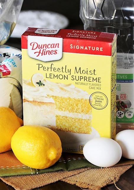 Lemon Crinkle Cake Mix Cookies Ingredients Image