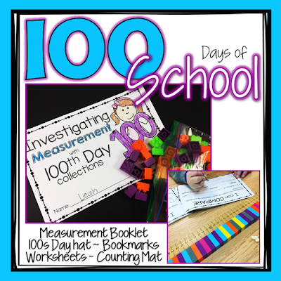 This 100th day of school activity pack has tons of activities to keep your first grade and second grade students busy on the 100th day of school including a 100s day hat, bookmarks and worksheets to practice counting to 100.  Students will love using the 100th day measurement investigation booklet to measure and compare their collection.  #100thdayofschool #100sdayofschool