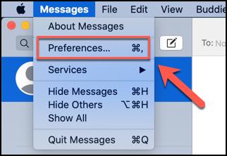 انقر على الرسائل> التفضيلات للوصول إلى قائمة التفضيلات لتطبيق الرسائل على نظام macOS