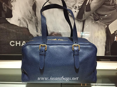 Miu Miu RL0092 Leather Bowler Bag-Bluette