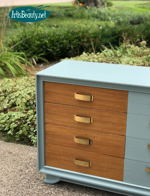 Persian Blue MCM dresser given a Modern update