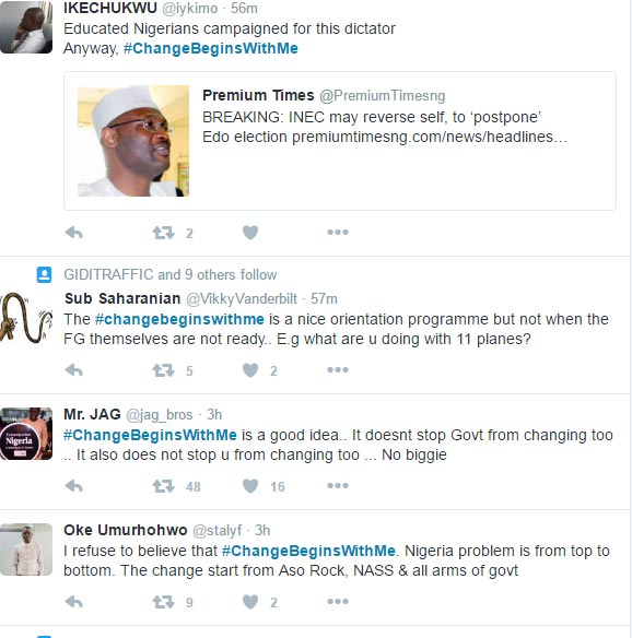 #ChangeBeginsWithMe: Nigerians react