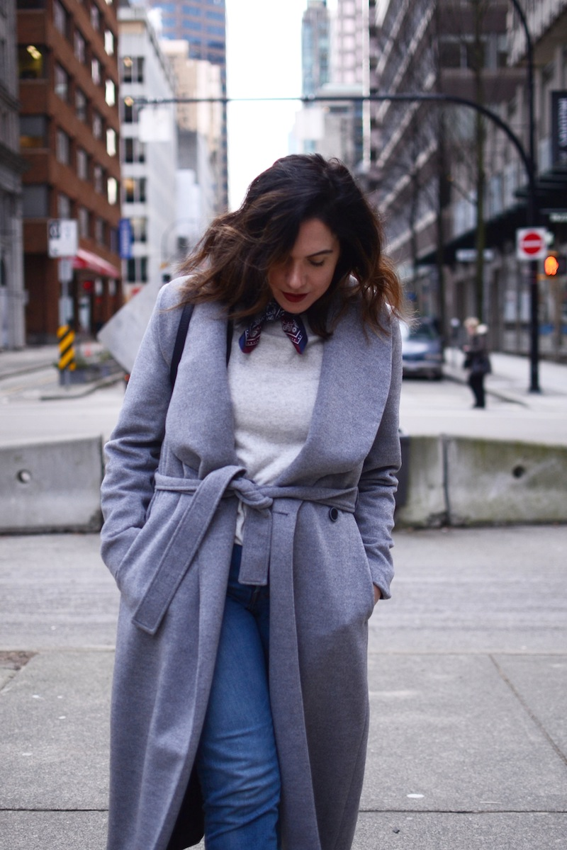 Le Chateau robe coat cute winter outfit hermes silk bandana vancouver fashion blogger levi's wedgie jeans
