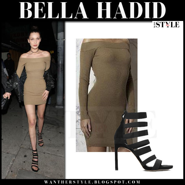 Bella Hadid in khaki off shoulder mini dress what she wore night out