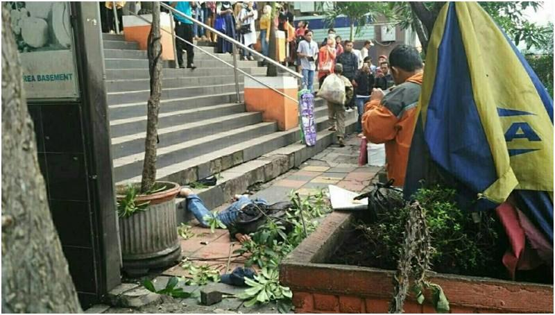 Penampakan Mayor Inf Sukardi usai jatuh dari Mal Pasar Baru Bandung