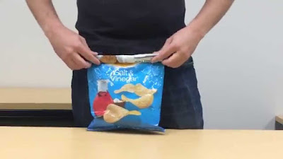 There is an easy way on resealing your bag of chips without using a clip!
