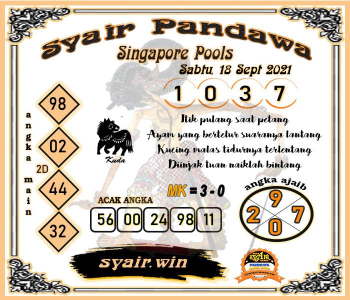 Syair Pandawa Togel Singapore Sabtu 18-09-2021