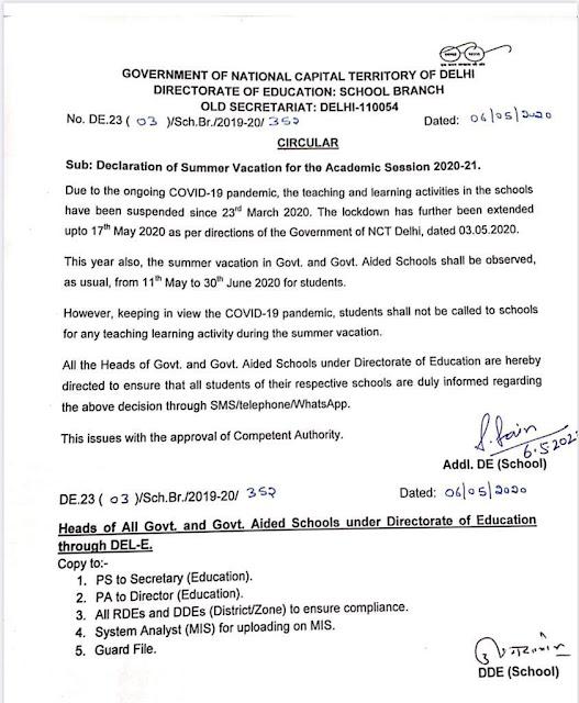 दिल्ली की स्कूलों में हुआ गर्मी की छुट्टियों का ऐलान