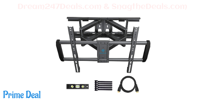 50%OFF Full Motion TV Wall Mount Fits 16 18 24 Inch Wood Studs - Dual Arms Articulating TV Mount for 37-75 Inch LED