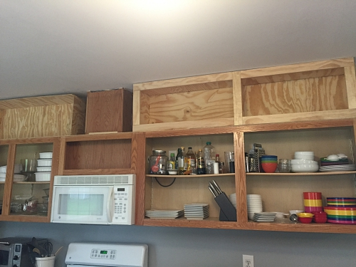 building shelves above cabinets