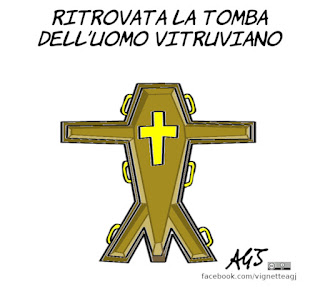 Leonardo da vinci, uomo vitruviano, cinquecentenario, anniversari, umorismo, vignetta