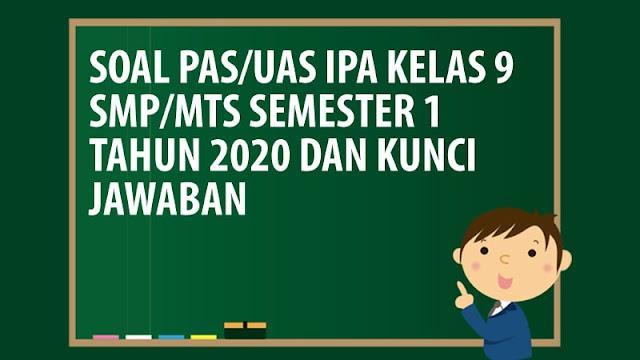 Soal PAS/UAS IPA Kelas 9 SMP/MTS Semester 1 Tahun 2020