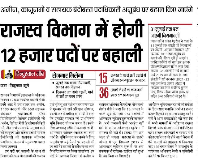 Bihar Revenue Department Recruitment