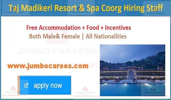 Taj Madikeri Resort & Spa Coorg Careers Latest Job Vacancies