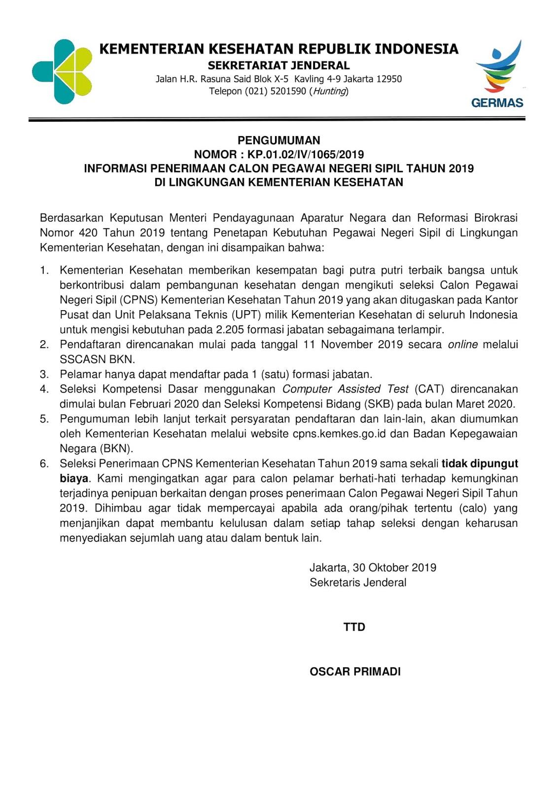 Penerimaan CPNS Kementerian Kesehatan Tahun 2019 [2.205 formasi]