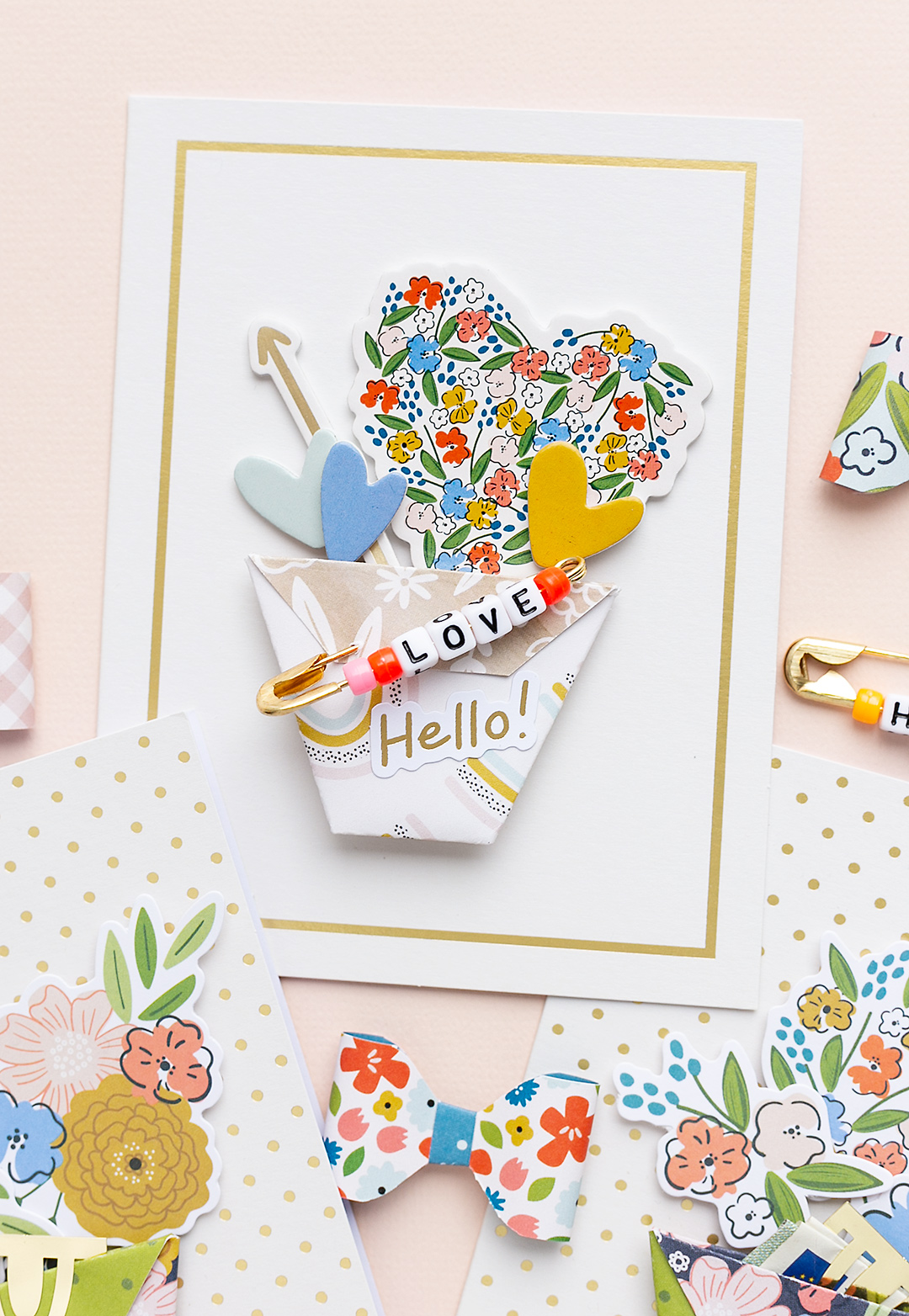 Hello Love Card with pretty floral stickers and embellishments Reaching Out American Crafts