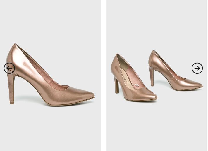 Marco Tozzi - Pantofi cu toc aurii eleganti de zi si de ocazii