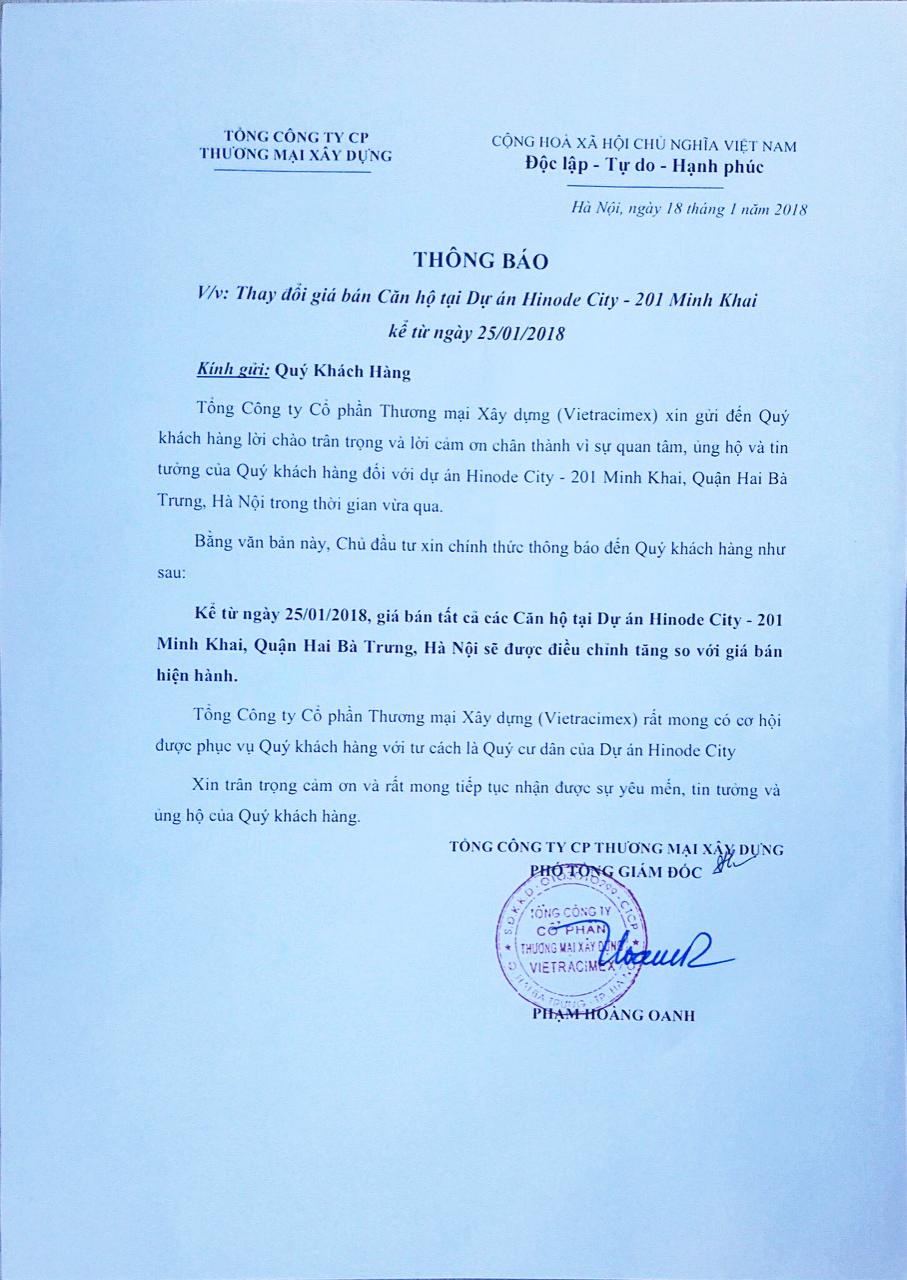 Thông báo tăng giá dự án Hinode City 201 Minh Khai