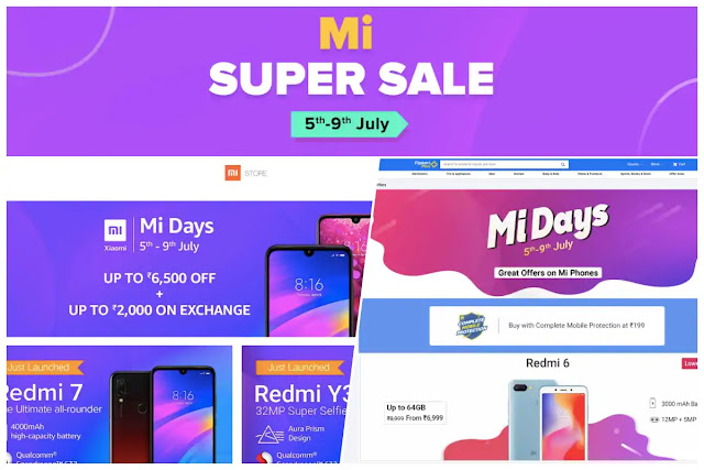 Xiaomi Mi Days Sale,mi days,mi super sale,amazon,flipkart,mi.com,poco f1,redmi 6a,mi a2,