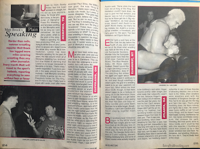 Inside Wrestling  - November 1998 -  Matt Brock's Plain Speaking
