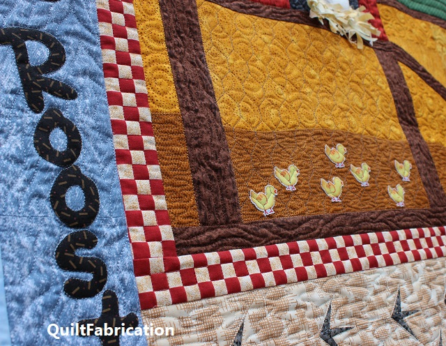background and chicken wire quilting on the Who Rules the Roost quilt