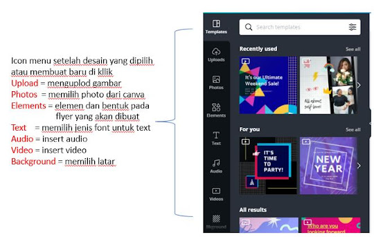 Drag and klik menu di canva