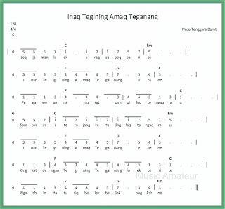 not angka lagu inaq tegining amaq teganang lagu daerah nusa tenggara barat