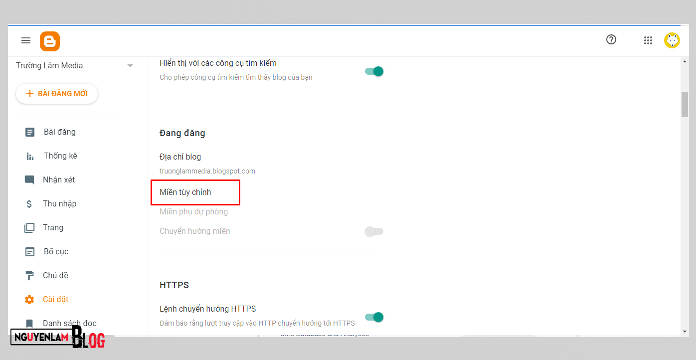 Cách Thêm Tên Miền Vào Blogger Update 2021 IMG 1