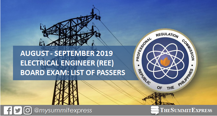 REE Passers: August - September 2019 Electrical Engineering board exam result