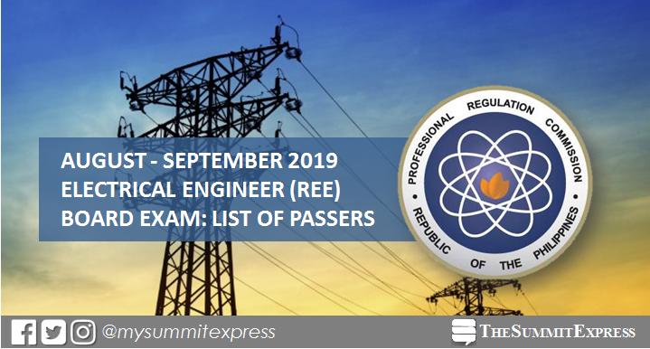 REE Passers: August - September 2019 Electrical Engineering board exam result