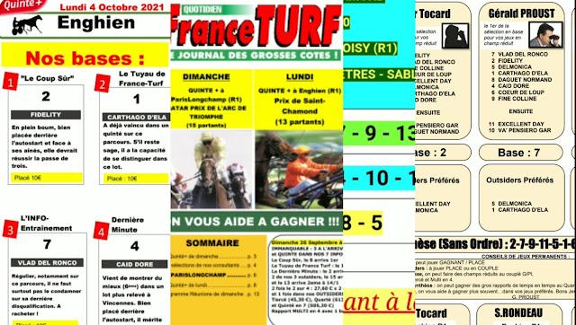 Pronostic quinté+ pmu Lundi Paris-Turf TV-100 % 04/10/2021
