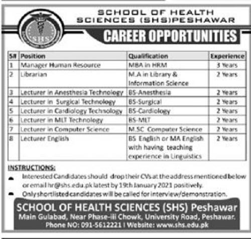 school-of-health-sciences-peshawar-jobs-2021-application-form