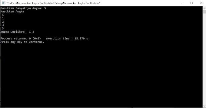 Program Pencari Angka Duplikat Pada Deret Dengan C++