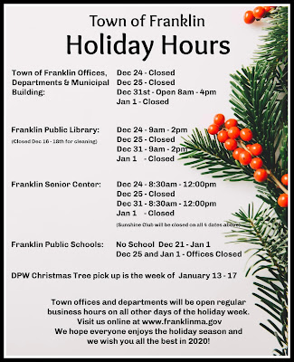 Town of Franklin: Holiday Hours for Dec-Jan 2019