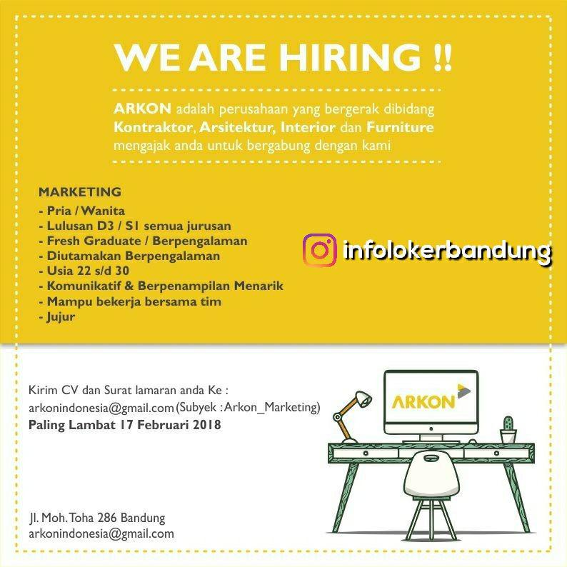 Lowongan Kerja PT. Arkon Indonesia Bandung Februari 2018