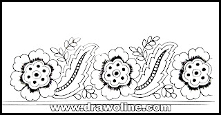 How to draw an easy process to hand embroidery saree border design/ hand embroidery designs images free download