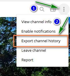 Memilih Menu Export Channel Atau Grup History