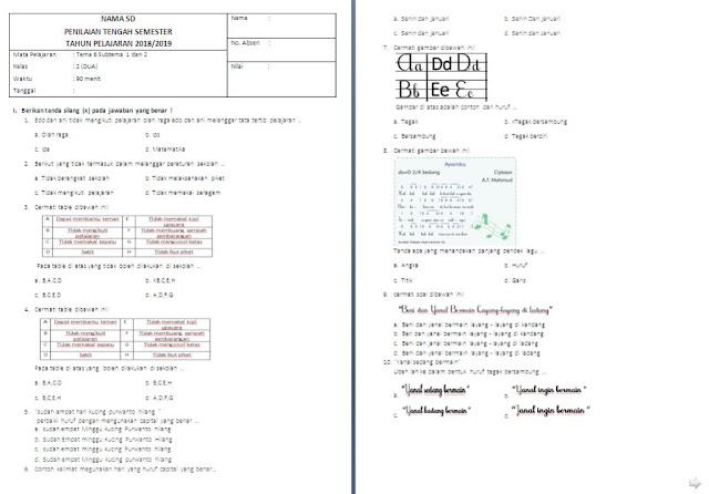 Soal PTS Kelas 2 SD/MI: Tema 6 Subtema 1-2