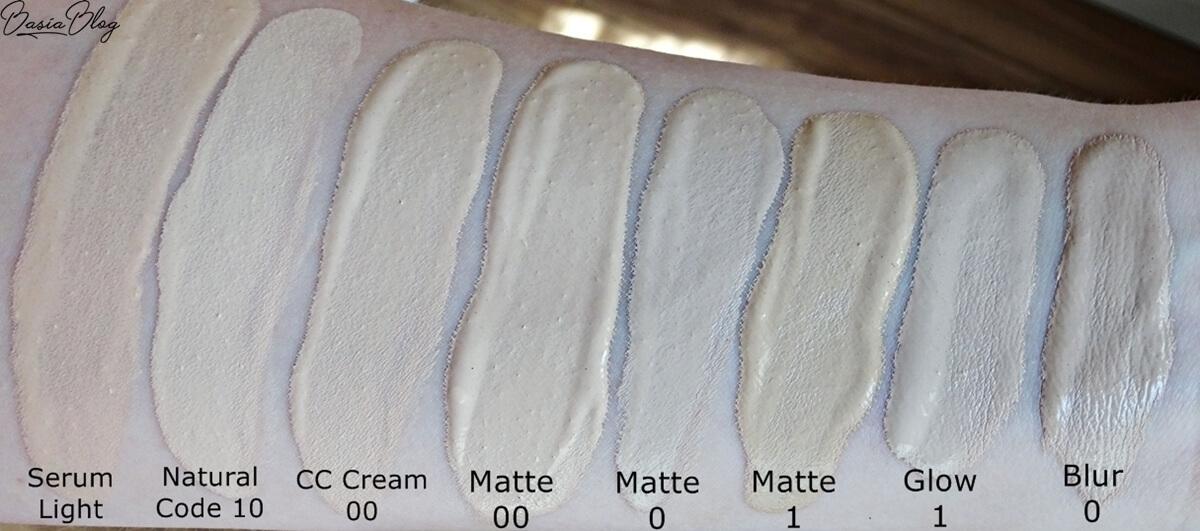 lumene swatch, lumene serum light, lumene natural code 10 vanilla, lumene cc cream 00, lumene matte, lumene blur 0, lumene glow 1