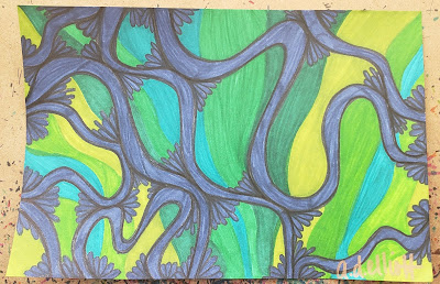 A pen and ink doodle in greens and blue and a blurb about doldrums - the weather pattern, not the mood.