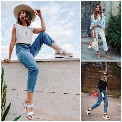 Jeans – Básicos y tendencias con sandalias de plataforma