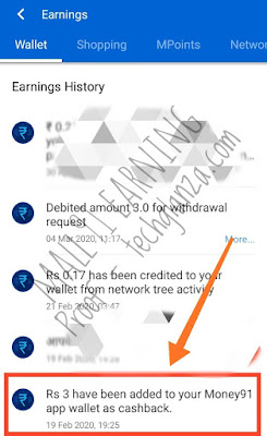 Mall91 Referral Earnings Proof