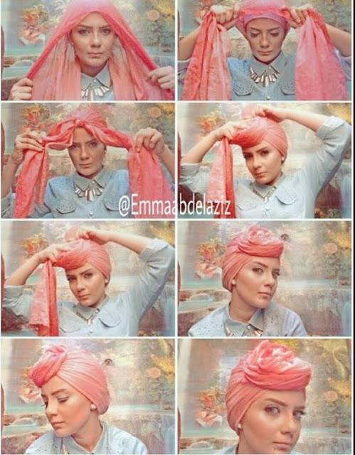 Tutorial Hijab Turban Pashmina Modern Gaya #20 Rose Head