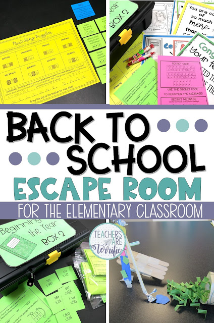 Fabulous resources and ideas to get you started back to school! This blog post will give you details about a Back to School Escape Room! #teachersareterrific