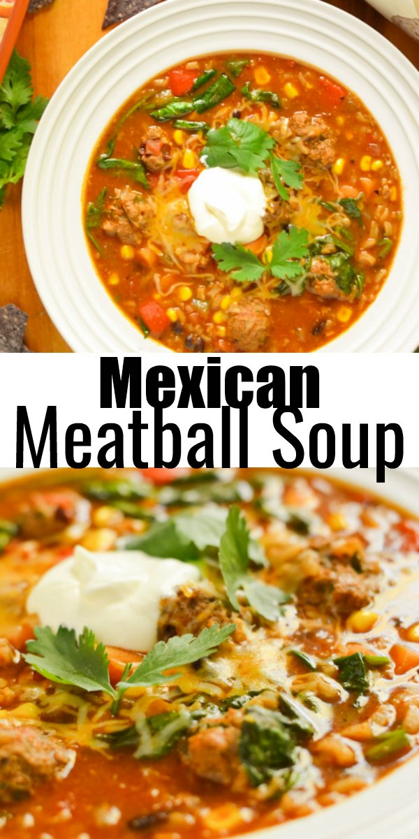 Mexican Meatball Soup in a white bowl top photo looking down and bottom photo looking from the side.