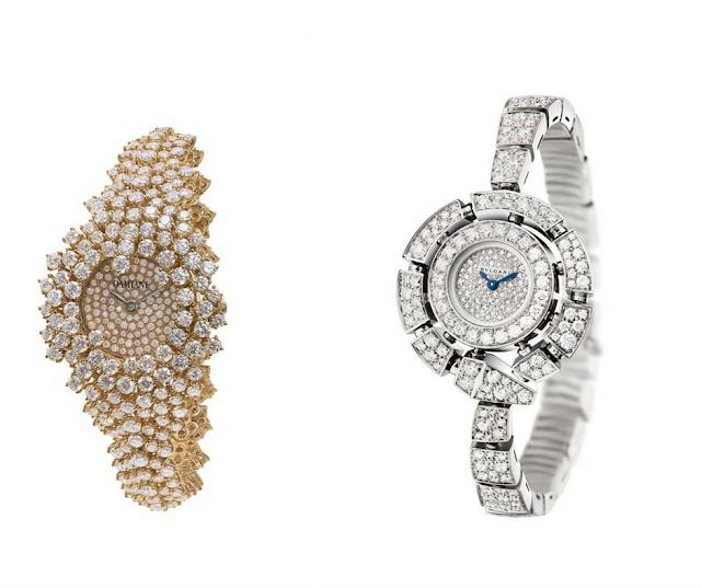 Brillantes sobre oro amarillo, oro blanco, y el reloj?
